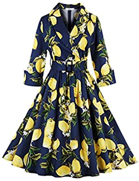 Botomi Women 's Lemon patron clasico Vintage Casual retro Swing Dress Belted