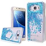 We Love Case Bling Bling Funda para Samsung Galaxy J5 2016 Glitter Estrellas Lentejuelas Líquido Arenas Movedizas Carcasa Plástic Duro Moda Tapa Case Cover Claro Cristal Transparente Cubierta Caja de Protección Resistente a Arañazos Choque Absorción - Azul Quicksands