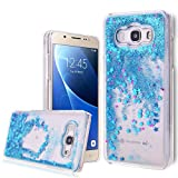 Samsung J5 2016 Case Galaxy J5 2016 Cover Samsung Galaxy J5 2016 Custodia ( Nor per Samsung Galaxy J5 2015 ) WeLoveCase Elegante Caso Per Samsung Galaxy J5 2016 Rigida Cover Plastica PC Sottile Copertura Duro Unico Creative Disegno Flowing Stella Star Colorato Sabbie Mobili Quicksand Blu Modello in Cristallo Trasparente Scintillio di Bling Diamond Dynamic Liquid Glitter Shell Shock-Absorption Bumper e Anti-graffio Protettiva Case