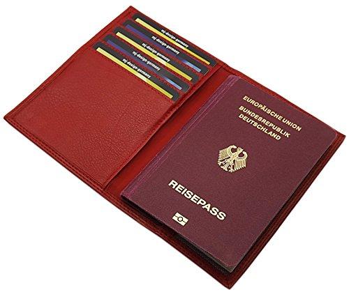 MJ-Design-Germany Reisepass Schutzhülle mit 5 Scheckkartenfächern Kalbsleder in 3 Farben (Rot)