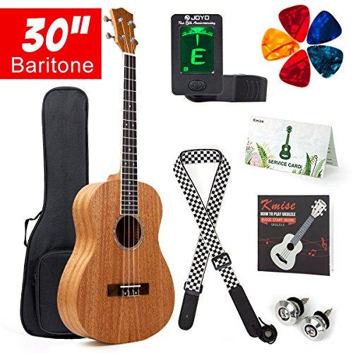 Kmise Bariton Ukulele Starter Kit Mahagoni Mahagoniholz 76,2cm 4Saiten Hawaii Gitarre mit Gig Tasche Tuner Gurt Plektren