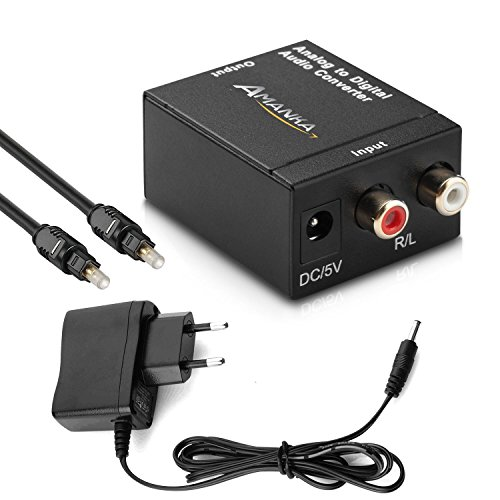 AMANKA Analog zu Digital Audio Konverter - Analog auf Digital Wandler - Klinke RCA Stecker zu 2x Ausgang Toslink/SPDIF Koaxial Cinch - Audiowandler