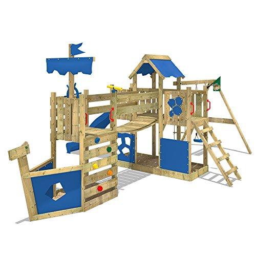WICKEY-Spielturm-Schiff-ArcticFlyer-Kletterturm-in-Schiffsoptik-Klettergerst-mit-Schaukel-Rutsche-Strickleiter-und-zwei-Sandksten-blaue-Plane-blaue-Rutsche