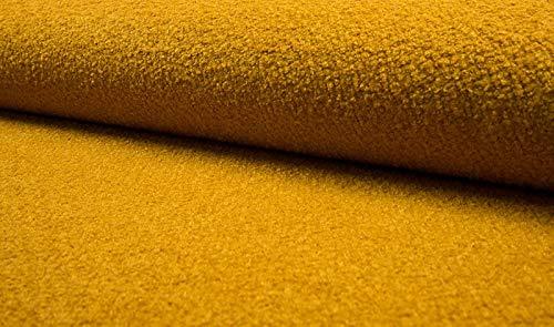 Qualitativ hochwertiger Woll Boucle, Woll-Mischgewebe in unifarben Senf als Meterware zum Nähen von Erwachsenen, Kinder und Baby Kleidung, 50 cm