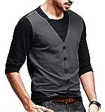 DENIMHOLICMen's Waist Coat Style Cotton Black Tshirt (Black, Small)