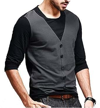 Seven Rocks Regular Fit Men's Cotton T-Shirt (XS-T4-CGBL, Charcoal Grey-Black, X-Small)