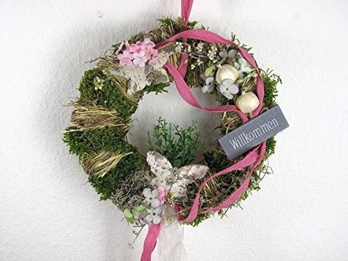 Türkranz Wandkranz Kranz pink mit Schmetterlingen Duo Ø 28 cm - Frühling - Sommer - Willkommensgruß 778