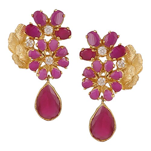 swasti-jewels-floral-shaped-dangling-earrings-with-red-zircon-and-pearls-fashion-jewelry-for-women