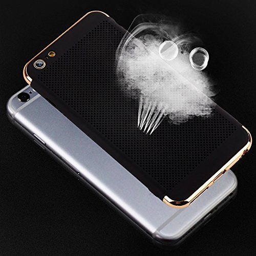 iPhone 8Plus Handyhülle, Coole Beschichtung Design CLTPY iPhone 7Plus Hartplastik Abdeckung mit Kreativ Gitter-Design Atem Schutzfall für Apple iPhone 7Plus/8Plus + 1 x Freier Stylus - Schwarzes Gold Dunkelblau