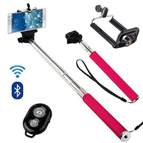 N4U Online - Sony Xperia Z1 Kompakte Erweiterbar Selfie-stab Stick-einbeinstativ Mit Verstellbarem Handy Halter and Bluetooth Remote Kabellos Verschluss - Pink (Remote Erweiterbar)