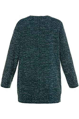 Ulla Popken Femme Grandes tailles 'Femme Pull Manche Longue Cardigan en Tricot Casual Sweaters avec Poches Pull Veste Sans Bouton 712551 pétrole foncé