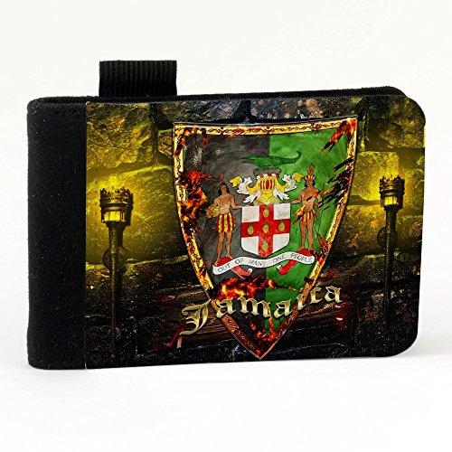 Stemma Giamaica, Nero Polyester Piccolo Cartella Congressi block notes Tasca Taccuino con Fronte di Sublimazione e alta qualità Design Colorato.Dimensioni A7-131x93mm.