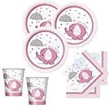 32 Teile Baby Shower Deko Set Rosa Elefant 8 Personen