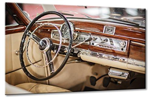 Bild auf Leinwand Mercedes Cockpit Größe: 60cm x 90cm | Daimler Mercedes-Benz Oldtimer Design Cockpit Holz Stern Uhr Radio | | Farbe: braun | Rubrik: mercedes + Auto Bilder