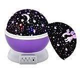 Proyector de Luz Nocturna WEINAS® 360 Grados de Rotación Lámpara de Proyección de Cielo Estrella Luna, Iluminación de Ambiente Decoración Romántica para Dormitorio Habitación de Niños
