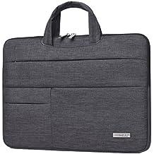 Feisman Funda para ordenador portátiles de 13 pulgadas, funda para ordenador portátil Macbook estilo empresarial con bolsillo de 13,3 pulgadas - (gris claro)