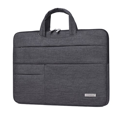 Handtasche Fall (Feisman 14-Zoll-Laptop-und Tablet-Tasche mit Handschlaufe, wasserdicht 14 Zoll Laptop-Hülle mit Taschen 14 Zoll 14,1 Zoll Laptop Handtasche Fall -(dunkelgrau))