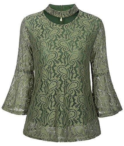 GRACE KARIN Donna Pizzo Maglia Manica Lunga Maglietta Alta Colletto Bluse  Lace T-Shirt Camicia 4d18b360809