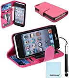 iPod Touch 5th 6th Generation Case, iPod Touch 5/6 Case Genuine ZAFOORAH PU Leather Photo Id Wallet Stand with 3 Bonus items Stylus, Screen Protector, Microfiber Cloth (PU Leather Photo Id Wallet - Dark Pink)