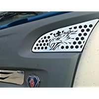 2x in acciaio INOX lucidato a specchio decorazioni per Scania R 2004–2009Trucks superiore cover Garmish OEM 1466031 - Pannello Guarnire