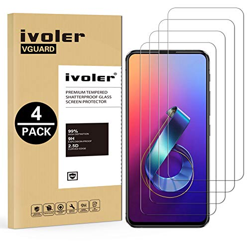 VGUARD [4 Pack Tempered Glass Film for ASUS Zenfone 6 / 6Z ZS630KL 6.4 Inch [Lifetime Warranty], Screen Protector Protective Film for ASUS Zenfone 6 / 6Z ZS630KL 6.4 Inches