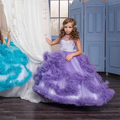 Xingxiu Mädchen Party Kleid Kinder Prinzessin Kleid Blume Mädchen Hochzeit Abendkleid Mopping Lange Rock Mädchen Pettiskirt Kostüm formelle Festtage Geburtstag Abschlussball, Netz, violett, ()