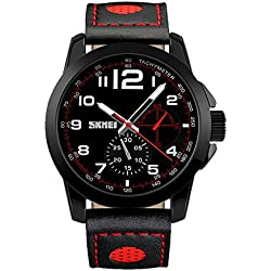 Amstt Dual Time Boys Men Watch with Black Dial Analogue Display Digital Quartz Sports Watch Chronograph 5ATM Waterproof Watches Red/Black