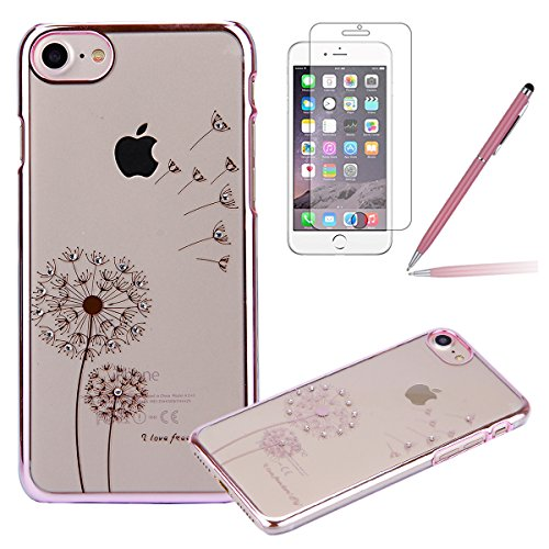 iPhone 5S Coque,iPhone SE Silicone Coque,iPhone 5 Housse - Felfy Glitter Etui Housse Placage Coque en Silicone Ultra-Mince Etui Soft Housse Plating Case Slim Gel Cover, Felfy Etui de Protection Cas Ul Pissenlit Rosa