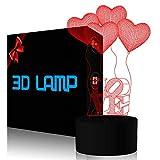 Quatre amour ballons 3D Illusion lampe, FZAI Romantics 7 couleurs changeantes Led...