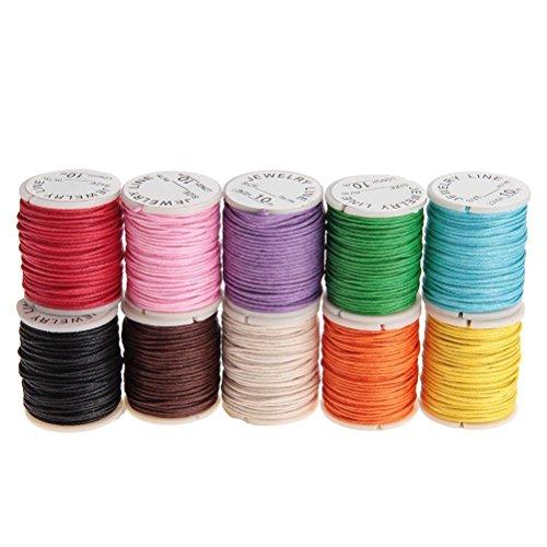 OULII 10M 1MM cerato stringhe di cotone cavi DIY Craft corde per il fai da TE collana braccialetto rendendo Pack 10pcs (colore casuale)
