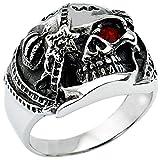 Aooaz Schmuck Herren Ring,Intarsien CZ Retro Biker Schädel Krone Edelstahl Ring für Herren Silber Rot