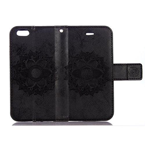 Flip Cover per iPhone 6S Plus/6 Plus 5.5,Custodia per iPhone 6 Plus 5.5 Cover Fiori,BtDuck Ultra Sottile PU Pelle Retro modello di Fiori Mandala Shell protettivi Bumper Wallet Caso Custodia in Pelle p 6S Plus/6 Plus 5.5 -Nero