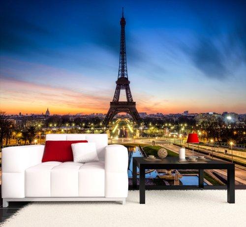 Fototapete Eiffelturm bei Nacht Frankreich KT266 Größe: 400x280cm Tapete Paris Tour Eiffel Skyline
