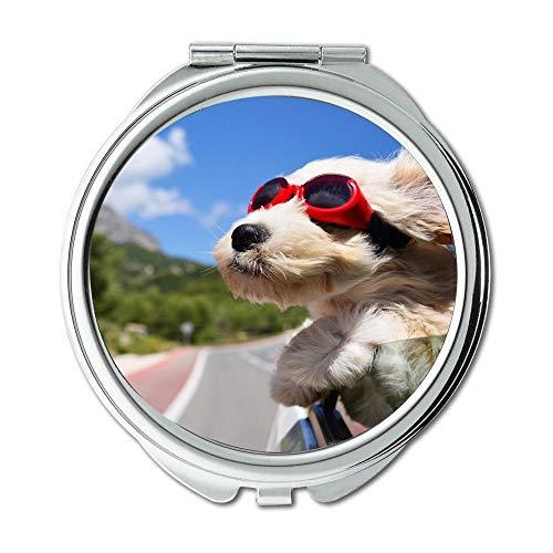 Yanteng Spiegel, Reisespiegel, Happy Dog, Taschenspiegel, 1 X 2X Vergrößerung