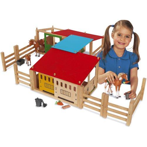 Preisvergleich Produktbild Holz Pferdestall 70x60cm aus 2 Gebäuden mit Durchgang und Zaun: Bauernhof Spielzeug Holzspielzeug Farm Bauernhaus Pferde Stall
