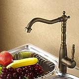 Design antico rubinetto da cucina un foro singola leva in ottone massiccio miscelatore monocomando girevole rubinetto