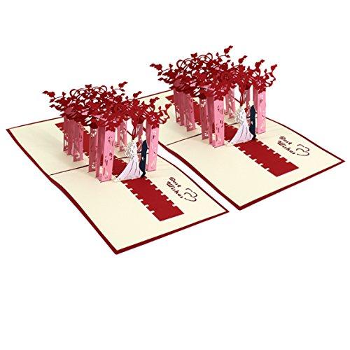 Meliya 3D Pop Up Hochzeits-Grußkarte für Hochzeitseinladungen, Valentinstag, Romanze, Jahrestag,...