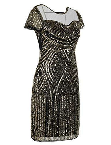 Kayamiya Damen Flapper Kleider Inspiriert Pailletten Cocktail Great Gatsby Kleid Gold