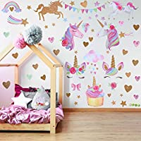 2 Sheets Unicorn Pattern Wall Decals Wall Stickers Decoration for Birthday Christmas Children Bedroom Ornament