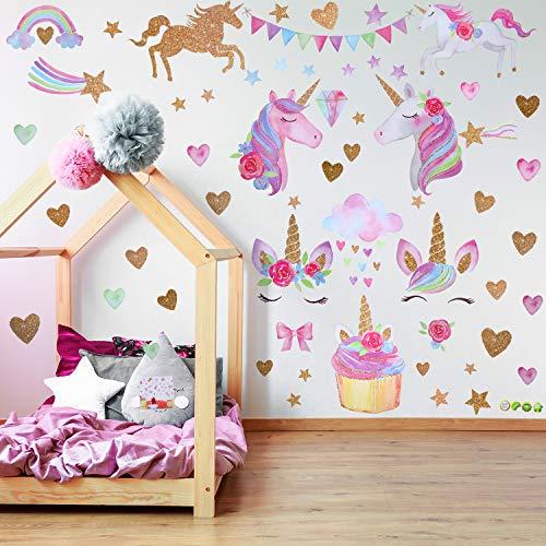 2 Hojas de Pegatinas de Pared de Patrón de Unicornio Pegatinas de Pared Adornos para Cumpleaños Navidad Adornos de Dormitorio Infantiles (Estilo 1)