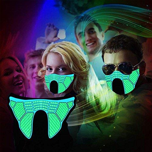 (KOBWA LED Rave Maske, Sound Aktivieren Leuchtende Gesichtsmaske Unisex Halloween-Kostüm Leuchten Musik Maske für Tanzen, Skaten, Party, Night Riding, Bühnenshow und Jedes Festival)