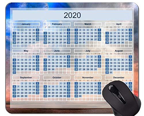 Kalender für 2020 Jahre Gaming Mouse Pad, Beach Sky Themed Mauspads