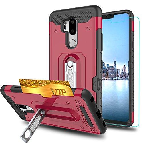 LG G7thinq Telefon Fall, LG G7Hüllen mit HD Handy Displayschutzfolie, ymhxcy [Slots Brieftasche] Drehbar Halterung Dual Layer stoßfest Schutzhülle für LG G72018-hm, HM-Red