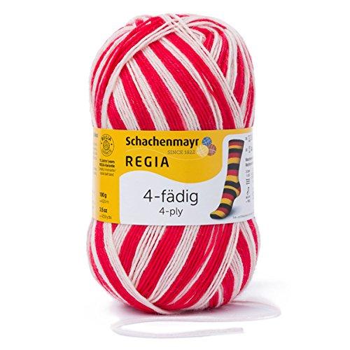 REGIA 4-fädig Color 9801269-05392 rot/weiß Handstrickgarn, Sockengarn, 100g Knäuel (Socken Wolle Weiße)