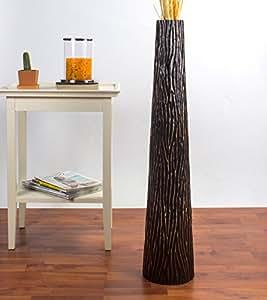 Leewadee grande vaso da terra 90 cm legno di mango nero for Vasi da terra per interni moderni