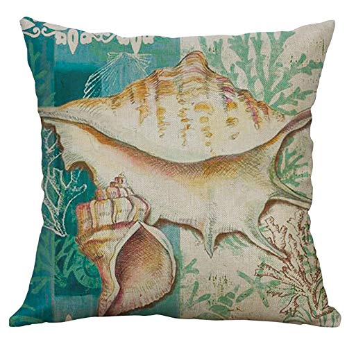 Housses de Coussin Imprimé Animal Marin Taies d'oreiller Coussins de Canapé Enfant Pillowcase Home Decor Taie Housse d'oreiller Coussins Oreiller Throw Pillow Coquille Pillowcase Art Style 13 WINJIN