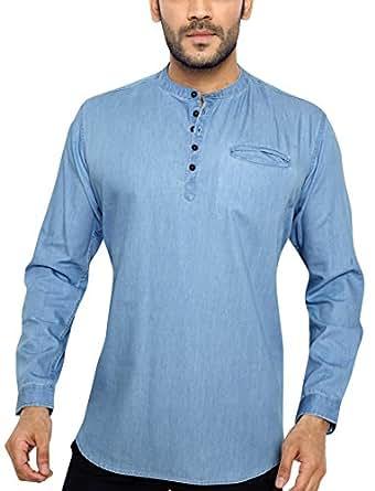 01f1fa0074 Global Rang Men s Casual Denim Kurta Shirt  Amazon.in  Clothing ...