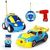 SGILE Ferngesteuertes Auto und Montage Spielzeugauto Set, 31 Stück Konstruktionsspielzeug Bau Spielzeug Kit und RC Cartoon Auto mit Licht und Musik für Kleinkinder und Kinder Kindergeschenk