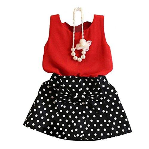 Las niñas falda traje, Internet chaleco + Set de dos piezas Vestido plisado (100(2-3 años), Rojo)