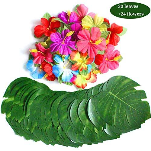 Palmenblätter und Hibiskusblüten, 20,3 cm Kunstblatt, für Hawaiianische Luau-Teile, Dschungelstrand, Tischdekorationen ()